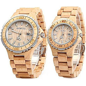 Bewell ZS-100B Couple Wooden Quartz Watch Men and Women Handmade Lightweight Date Display Fashion Watches