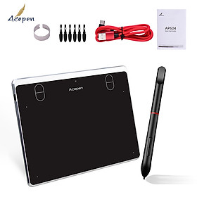 Acepen AP604 Digital Graphic Drawing Tablet 6*4 Inch Active Area Ultra-Thin Drawing Board Kit with 4 Shortcut Keys