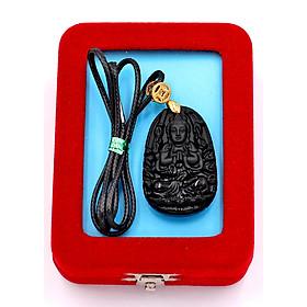 Hình đại diện sản phẩm Dây vòng cổ phật Thiên Thủ Thiên Nhãn - thạch anh đen 3.6cm DETEB8 - dây đen - kèm hộp nhung - tuổi Tý