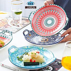 Creative Ceramic Dinner Plates Boho Style Cartoon Hand-painted Underglaze Round Amphora Dish Baking Dish Household Tableware