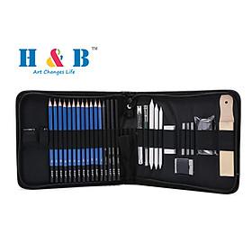 H&B 32Pcs Professional Pencil Drawing Kit Sketch Graphite Charcoal Pencil Sticks Rubbers Sketching Supplies