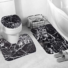4 Pcs Home Bathroom Bath Mat Set Rugs Toilet Lid Cover Shower Curtain Waterproof