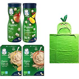 Combo Gerber Organic Ăn Dặm Toàn Diện (gồm 2 bột Gerber Organic Lúa mì yến mạch và Lúa mì yến mạch bánh quy + 2 bánh ăn dặm Gerber Organic vị Táo và Nam Việt Quất Cam) tặng khăn tắm trái thơm/trái táo