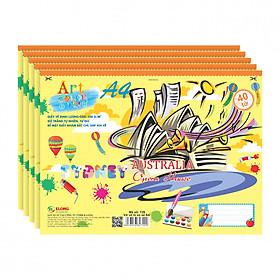 Lốc 5 Vở Vẽ Xé Lò Xo KLONG A4 - MS 720 (40 tờ)
