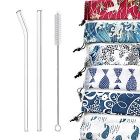 Combo 2 Ống Hút Thủy Tinh Trong Suốt Dài 20cm Kèm Cọ Rửa và Túi Vải Bố Màu Tùy Chọn