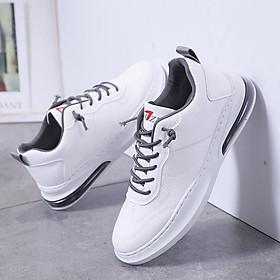 Giày Sneaker nam, Giày thể thao nam, giày da, 2 màu đen - trắng, đế cao su nguyên khối, đế nén khí êm, bền, khâu đế chắc chắn G145