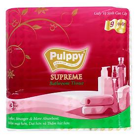 Giấy Vệ Sinh Cao Cấp Pulppy Supreme 3 Lớp (9 Cuộn)