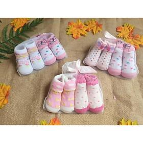 Set 2 đôi Tất sơ sinh/ Vớ sơ sinh túi lưới Cao cấp cho bé (0-6 tháng)-họa tiết ngẫu nhiên