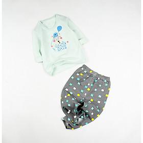 Bộ dài xanh lá in sóc con cho bé trai 0.5-1.5 tuổi từ 6 đến 12 kg 02774