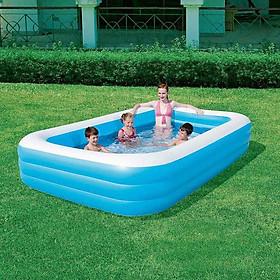 Bể bơi phao 3 tầng cho bé size 290 X 170 X 60 cm (mẫu mới) tặng kèm 1 móc khóa huýt sáo