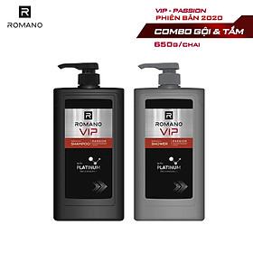 Combo Dầu gội và Sữa tắm cao cấp Romano Vip Passion mạnh mẽ bí ẩn 650g/chai