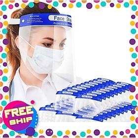 Kính chống giọt bắn Face Shield loại Tấm che mặt phòng dịch [Combo 10 cái]