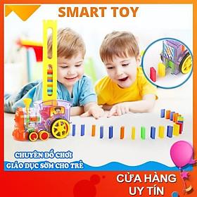 Xe đồ chơi trẻ em tàu hỏa xếp domino tự động cho bé trai bé gái vận động phát triển sáng tạo Smart Toy (mẫu mới nhất )