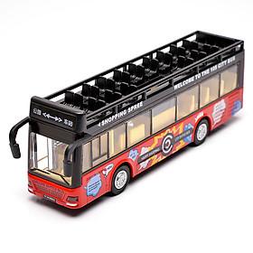 Đồ chơi mô hình xe bus 2 tầng mui trần  KAVY có nhạc và đèn chạy cót bằng kim loại bền bỉ, xe thăm quan du lịch thành phố