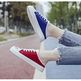 Giày thể thao sục vải nữ nhiều màu phối dây buộc tròn cá tính hàng FULL BOX kèm ảnh chi tiết
