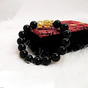 Vòng tay đá thạch anh đen mix Tỳ hưu MS258, Vòng tay phong thủy hợp mệnh Thủy, Mộc, Thổ cho nam và nữ
