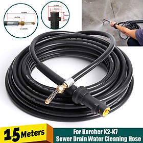 15M Drain Sewer Pipe Cleaning Hose Nozzle For Karcher K2-K7 High Pressure