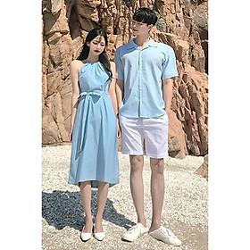 Áo váy đôi sơ mi cặp cao cấp du lịch, chụp cưới - Đồ đôi thời trang thiết kế nam nữ chất đẹp màu xanh AV177