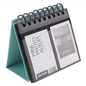 Photo Album Calendar Vertical Flip Self Adhesive Memo Book 68Pocket 3 Inch Storage Stamp Ticket Postcard Business Card - Blue