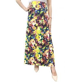 Váy chống nắng xẻ tà chất liệu Kaki hoặc Đũi hoa văn