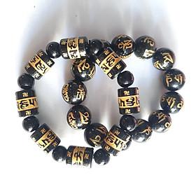 Combo 2 vòng tay vòng tay ngọc la hán khắc chữ omani bát minh hồng size 14 ly, 2 kiểu vuông và tròn