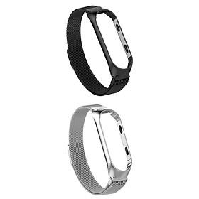 For  Mi Band 3/4 Smart Bracelet Watch Band Strap Metal  2x