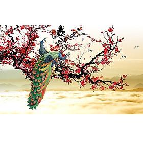 Hình đại diện sản phẩm Tranh dán tường 3D vải lụa cao cấp hình đôi chim công kim tiền phú quý vinh hoa - ĐC