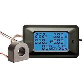 Công tơ điện tử,Thiết bị đo công suất 100A, đồng hồ điện tử hiển thị 6 thông số