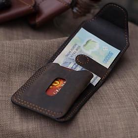Ví sen 4, da bò thật ví cầm tay mini cho nam, nữ đựng tiền và thẻ, bh 24 tháng, Vi70