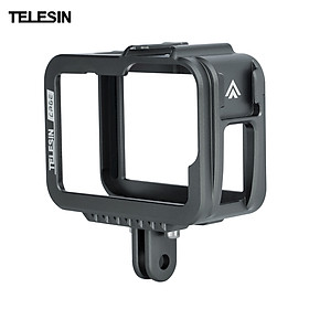 TELESIN Aluminum Alloy Camera Cage with Double Cold Shoes Mount Replacement for GoPro 9 Camera