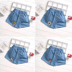 (244) Quần Jean Ngắn Giả Váy Đơn Giản Thời Trang Cho Bé Gái 3-11 Tuổi