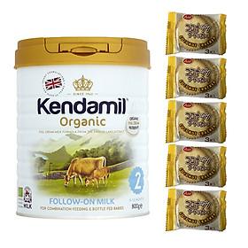 Sữa Nguyên kem công thức hữu cơ KENDAMIL ORGANNIC số 2: ORGANIC FOLLOW ON MILK (800G) ( cho trẻ từ 6-12 tháng tuổi) - Tăng sức đề kháng, tăng cân, phát triển chiều cao và trí não – Tặng 5 bánh quy Nhật Bản hiệu Aee