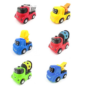 xe ô tô bánh đà đồ chơi bằng nhựa, trí tuệ dành cho bé _mô hình xe công trình (bộ 6 chiếc)