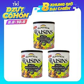 Combo 3 Hộp Nho Khô Mỹ KhôngHạt Sunview Raisins 425g (Nho Thập Cẩm)