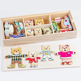 Bộ xếp hình thay trang phục cho gia đình gấu bằng gỗ