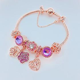Vòng tay lắc tay nữ bông hoa đẹp nhất hợp kim mạ bạc xi hồng sang chảnh đủ size 16 - 20 cm