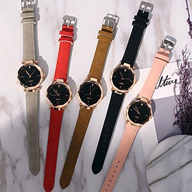 Đồng hồ thời trang nữ viền kim loại dây da nhung D1,mặt kính 3d siêu đẹp