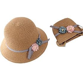 Set nón và túi cói cho bé + tặng băng đô tóc hoa dây Nhật Pháp