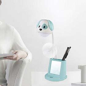Đèn học LED chống cận thị để bàn 4 trong 1 (tích hợp 4 chức năng: Đèn , quạt, gương soi, đế để điện thoại) hình cún dễ thương - màu giao ngẫu nhiên