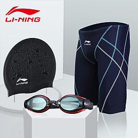 Li Ning LI-NING swimming trunks goggles swimming cap five points suit men's swimming trunks swimming goggles fashion swimming equipment LN55-169 black XXXL myopia 400 degrees
