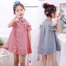 Đầm kate caro rớt vai xoè cực xinh cho bé gái 3-8 tuổi từ 15 đến 28 kg 02222-02223