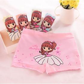Quần chip đùi 1 set 4 cái 4 màu bé gái mặc đầm cột tóc cao