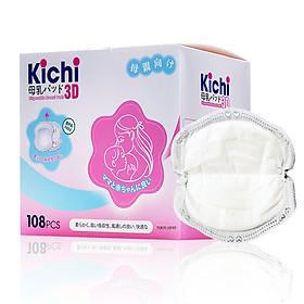 Hộp 108 Miếng lót thấm sữa Kichilachi 3D gói siêu tiết kiệm, mềm mịn, thấm hút tốt
