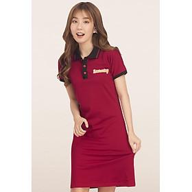Đầm suông GUMAC  cho nữ có phối màu cổ bẻ thun co giãn nhẹ chất liệu cotton DA514