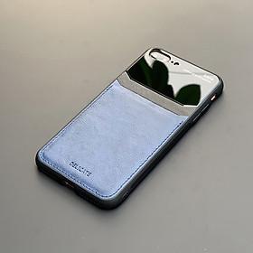 Ốp lưng da kính cao cấp dành cho iPhone 7 Plus / iPhone 8 Plus - Màu xanh - Hàng nhập khẩu - DELICATE