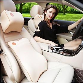 Bộ gối tựa đầu và tựa lưng xe hơi, xe ô tô V2 chất liệu cao su non cao cấp màu be