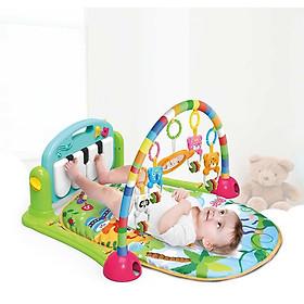 Thảm cho bé nằm chơi có nhạc (màu ngẫu nhiên) - Tặng kèm 01 gối lõm đinh lăng cho bé