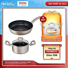 Combo Chảo chiên Tefal Sensation H9100614 28 cm & Nồi chống dính Tefal Sensation H9104614 24cm - Cảnh báo nhiệt - Dùng cho mọi loại bếp - Hàng chính hãng