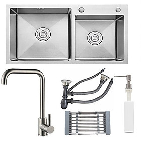 Hình ảnh Combo chậu rửa chén inox sus304 kích thước 8245, vòi rửa chén nóng lạnh, bình xà phòng, rá inox đa năng, xả chậu
