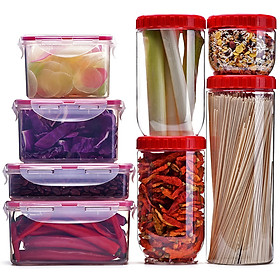 Lock&Lock Kitchen Storage Set/Eight Pieces of Fresh-keeping Box Sealed and Fresh-keeping, Anti-crossing Odor, Easy to Clean INL301S013PR (Sealed Can*4+ Fresh-keeping Box*4)